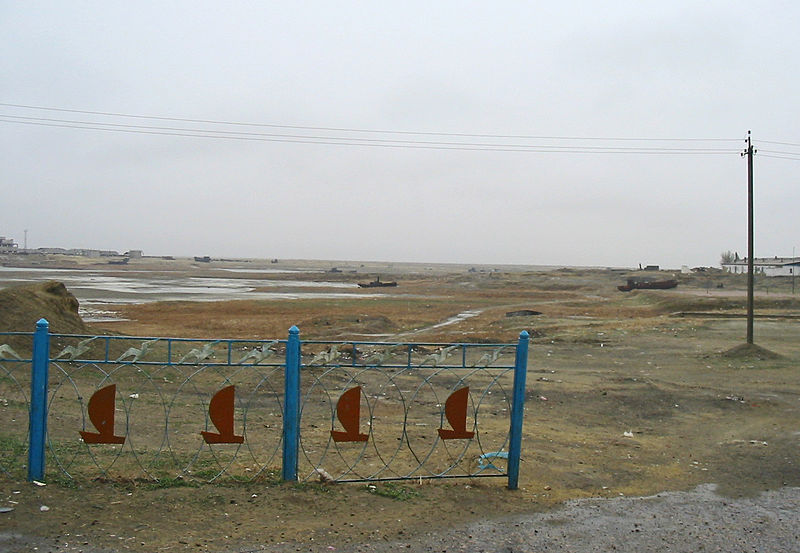 """Waterfront"" of Aralsk, Kazakhstan, formerly on the banks of the Aral Sea. Photo taken Spring 2003 by Staecker. (Via Wikipedia)"