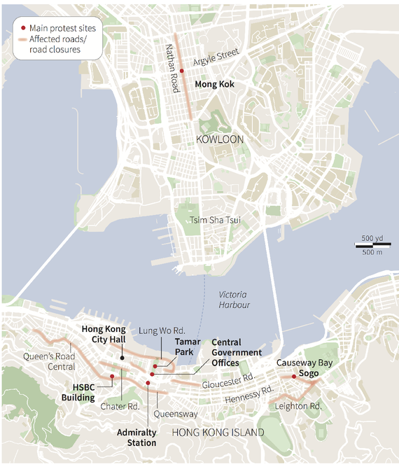Hong Kong protest locations, October 2014