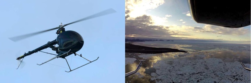 The rotary-wing UAV tested, and its view from the sky. Image: DRDC