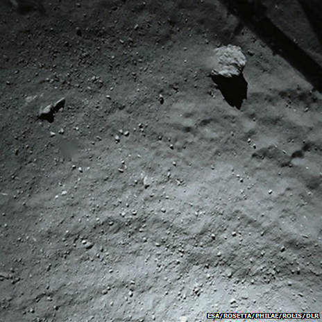 Photo of the comet's surface from about 40 metres as the lander made its initial descent.
