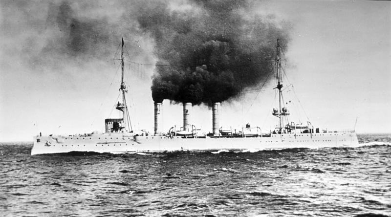 SMS Emden underway in 1910 (via Wikipedia)