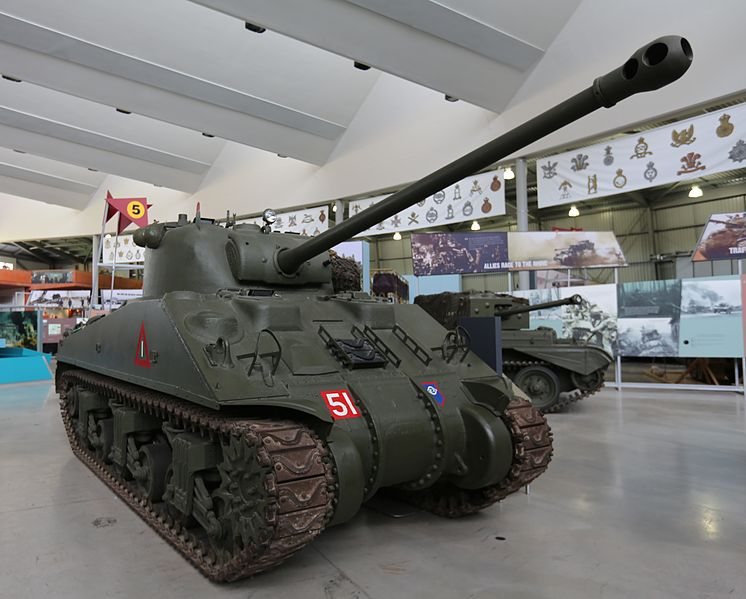 Sherman Firefly on display at Bovington Tank Museum (via Wikipedia)