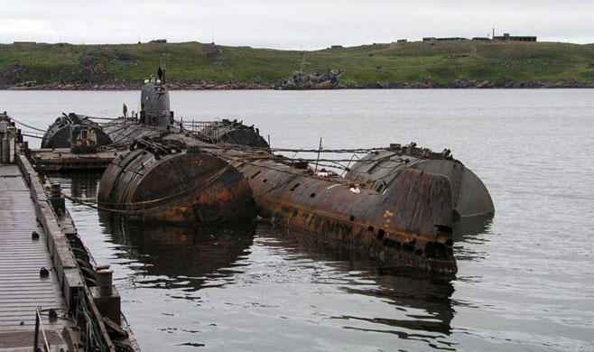 Soviet nuclear submarine K-159 before she sank