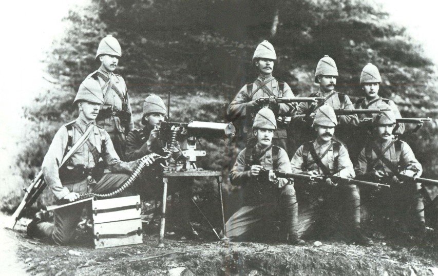 A British Maxim gun section that took part in the Chitral Relief Expedition of 1895. Public domain photo