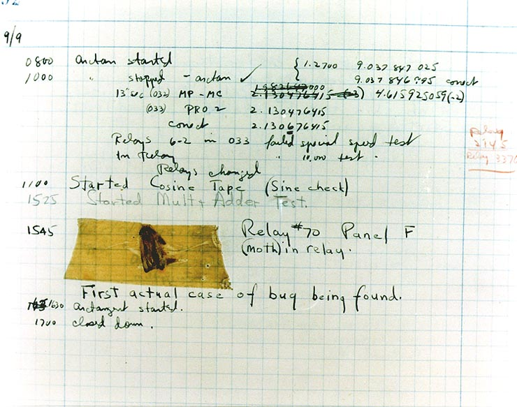 "The First ""Computer Bug"" Moth found trapped between points at Relay # 70, Panel F, of the Mark II Aiken Relay Calculator while it was being tested at Harvard University, 9 September 1947. The operators affixed the moth to the computer log, with the entry: ""First actual case of bug being found"". (The term ""debugging"" already existed; thus, finding an actual bug was an amusing occurrence.) In 1988, the log, with the moth still taped by the entry, was in the Naval Surface Warfare Center Computer Museum at Dahlgren, Virginia, which erroneously dated it 9 September 1945. The Smithsonian Institute's National Museum of American History and other sources have the correct date of 9 September 1947 (Object ID: 1994.0191.01). The Harvard Mark II computer was not complete until the summer of 1947."