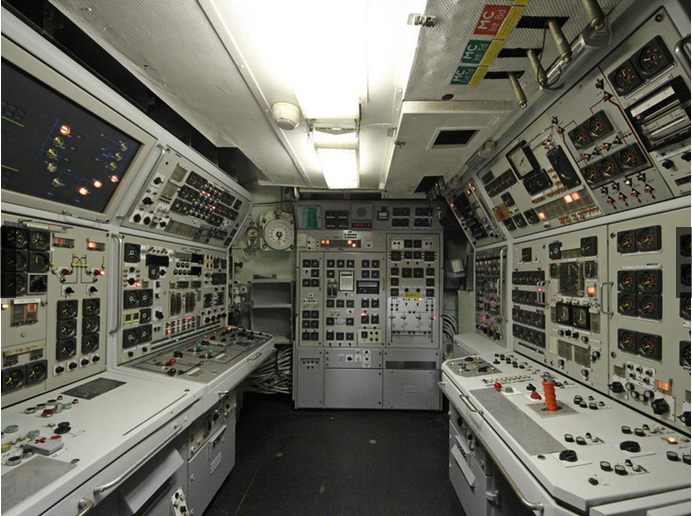 "Man, this looks like a nuclear power station control room. Oh, wait, it is. Along with all the other moving and dangerous parts of the ""drivetrain."""