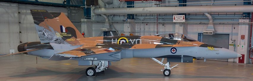 The 2015 CF-18 Hornet Demonstration Aircraft is unveiled at a ceremony held at 3 Wing Bagotville in Saguenay, Québec on 27 March 2015. Image: LS Alex Roy, Atelier d'imagerie Bagotville. BN01-2015-0186-005 (click to see full-sized image)