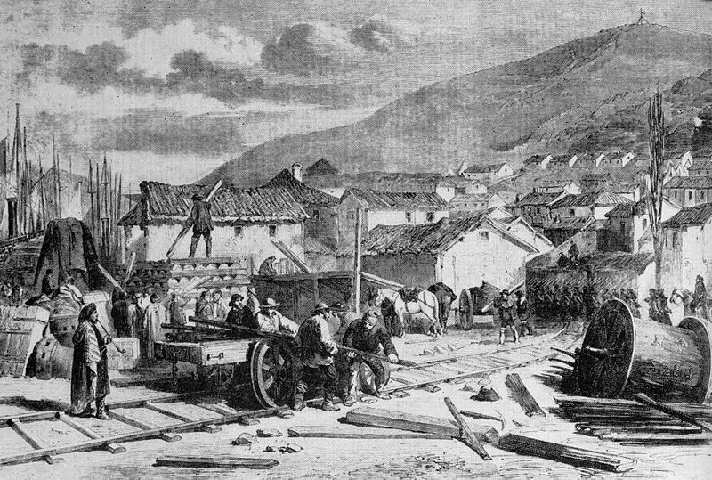 Navvies working on the Grand Crimean Central Railway, 1854. Walker, Charles (1969) Thomas Brassey, Railway Builder (via Wikipedia)