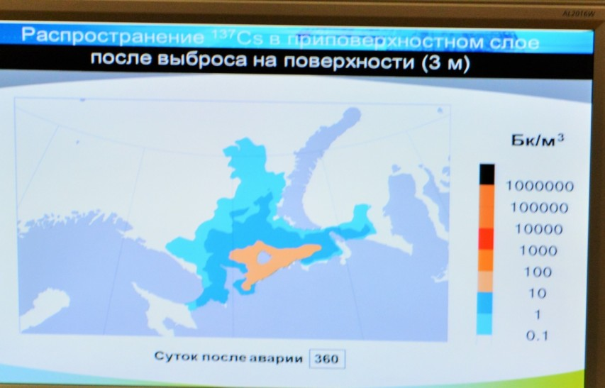 The map shows expected spreading of radioactive Cs-137 from potential releases from the K-159 that still lays on the seabed northeast of Murmansk in the Barents Sea.
