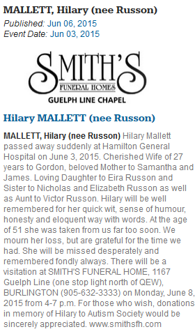 Hilary Mallett obituary