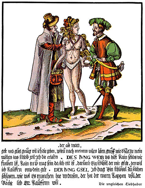 A 16th-century German satirical colored woodcut whose general theme is the uselessness of chastity belts in ensuring the faithfulness of beautiful young wives married to old ugly husbands. The young wife is dipping into the bag of money which her old husband is offering to give her (to encourage her to remain placidly in the chastity belt he has locked on her), but she intends to use it to buy her freedom to enjoy her young handsome lover (who is bringing her a key). (via Wikipedia)