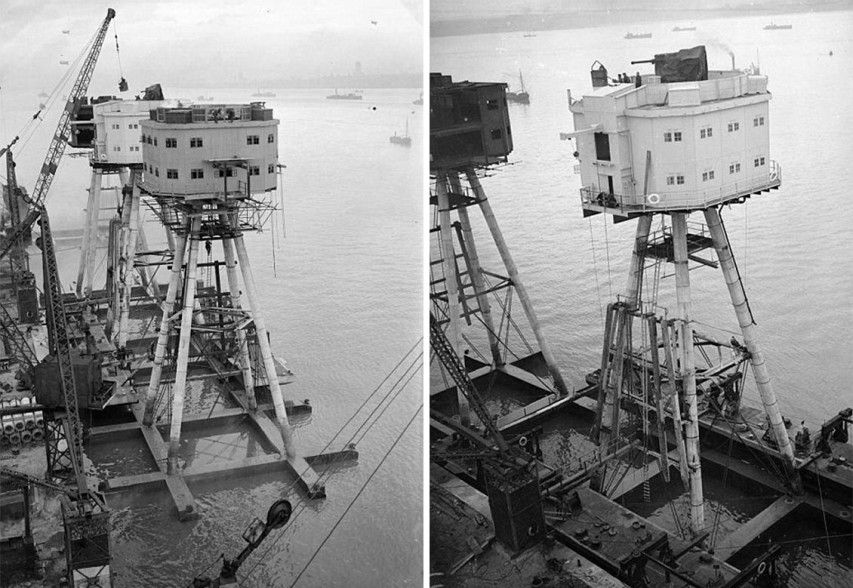 The huge metal Maunsell gun towers, also known as Red Sands, were constructed in 1943 during the Second World War