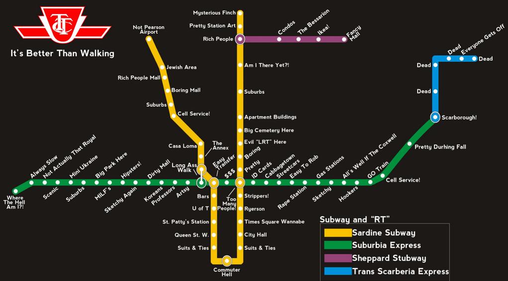 Toronto Transit Map Toronto transit map, with real world station descriptions  Toronto Transit Map